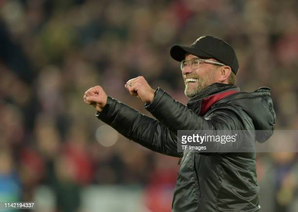 Head coach Juergen Klopp of FC Liverpool celebrates after the UEFA Champions League Semi Final second leg match between Liverpool and Barcelona at...