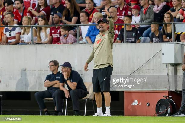 Head coach Juergen Klopp of Liverpool FC gestures during the Pre-Season Friendly match between Hertha BSC and FC Liverpool at Tivoli Stadion Tirol on...