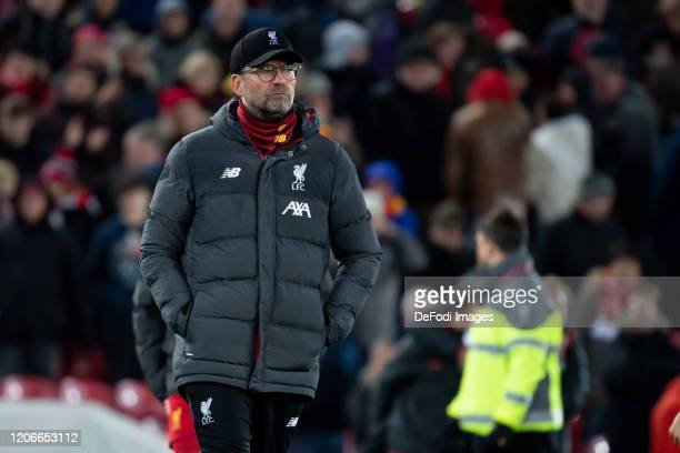Head coach Juergen Klopp of Liverpool FC looks dejected during the UEFA Champions League round of 16 second leg match between Liverpool FC and...