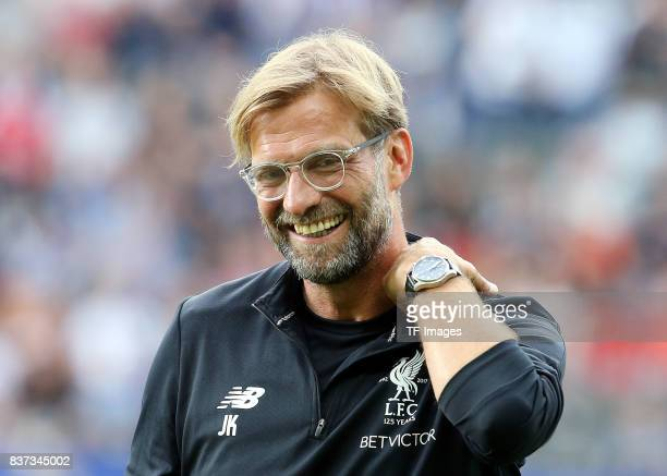 Head coach Juergen Klopp of Liverpool looks on during the Preseason Friendly match between Hertha BSC and FC Liverpool at Olympiastadion on July 29,...