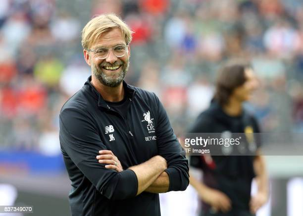 Head coach Juergen Klopp of Liverpool looks on during the Preseason Friendly match between Hertha BSC and FC Liverpool at Olympiastadion on July 29...