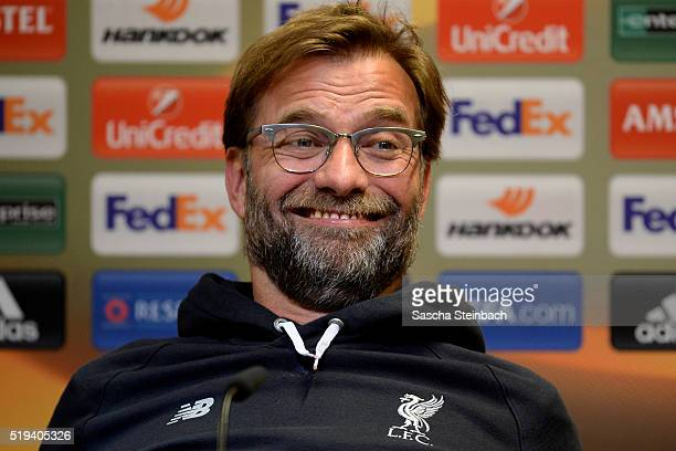 Head coach Juergen Klopp reacts during the Liverpool FC press conference prior to the UEFA Europa League match between Borussia Dortmund and...