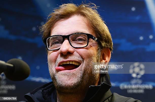 HEad coach Juergen Klopp smiles during a Borussia Dortmund press conference ahead of their UEFA Champions League quarterfinal match against Malaga CF...