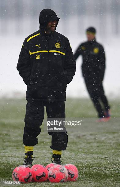 Head coach Juergen Klopp smiles during a Borussia Dortmund training session on January 15 2013 in Dortmund Germany