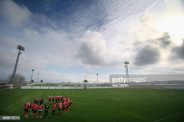 Head coach Juergen Kramny talks to the players prior to a VfB Stuttgart training session on day 1 of the Bundesliga Belek training camps at Huseyin...