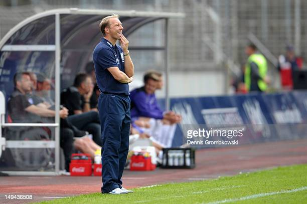 Head coach Juergen Luginger of Saabruecken reacts during the 3 Liga match between 1 FC Saarbruecken and VfL Osnabrueck at Ludwigspark Stadion on July...