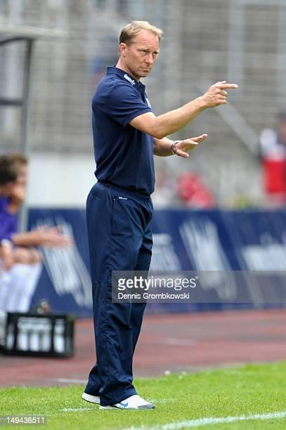 Head coach Juergen Luginger of Saabruecken reacts during the 3 Liga match between 1 FC Saarbruecken and VfL Osnabrueck at Ludwigspark Stadion on July...