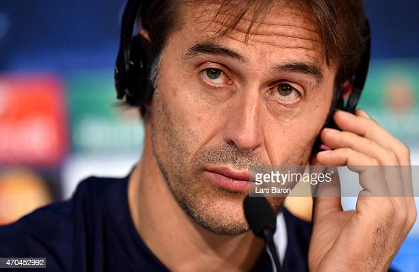 Head coach Julen Lopetegui looks on during a press conference prior to their UEFA Champions League Quarter Final second leg match at Allianz Arena on...