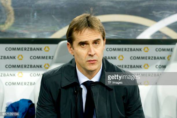Head coach Julen Lopetegui looks on prior to the international friendly match between Germany and Spain at EspritArena on March 23 2018 in...