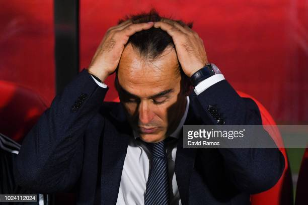 Head coach Julen Lopetegui of Real Madrid CF reacts during the La Liga match between Girona FC and Real Madrid CF at Montilivi Stadium on August 26...