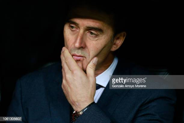 Head coach Julen Lopetegui of Real Madrid CF recats from the bench prior to start the Group G match of the UEFA Champions League between Real Madrid...