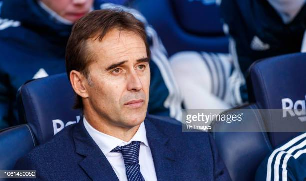 Head coach Julen Lopetegui of Real Madrid looks on prior the La Liga match between FC Barcelona and Real Madrid CF at Camp Nou on October 28 2018 in...