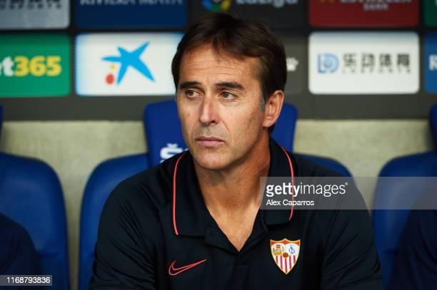 Head Coach Julen Lopetegui of Sevilla FC looks on during the Liga match between RCD Espanyol and Sevilla FC at RCDE Stadium on August 18, 2019 in...