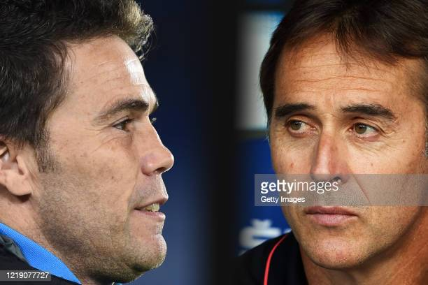 Head Coach Julen Lopetegui of Sevilla FC looks on during the Liga match between RCD Espanyol and Sevilla FC at RCDE Stadium on August 18, 2019 in...