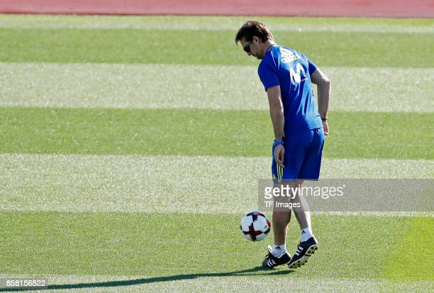 Head coach Julen Lopetegui of Spain attends a training session on October 4 2017 in Madrid Spain