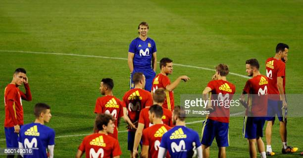 Head coach Julen Lopetegui of Spain attends a training session on October 5 2017 in Alicante Spain