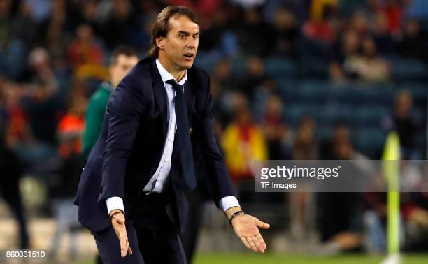 Head coach Julen Lopetegui of Spain gestures during the 2018 FIFA World Cup European Group G qualifying football match between Israel and Spain at...