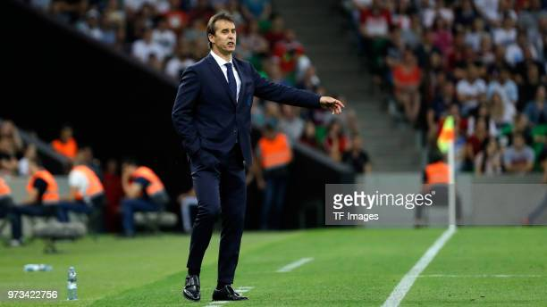 Head coach Julen Lopetegui of Spain gestures during the friendly match between Spain and Tunisia at Krasnodar's stadium on June 9 2018 in Krasnodar...