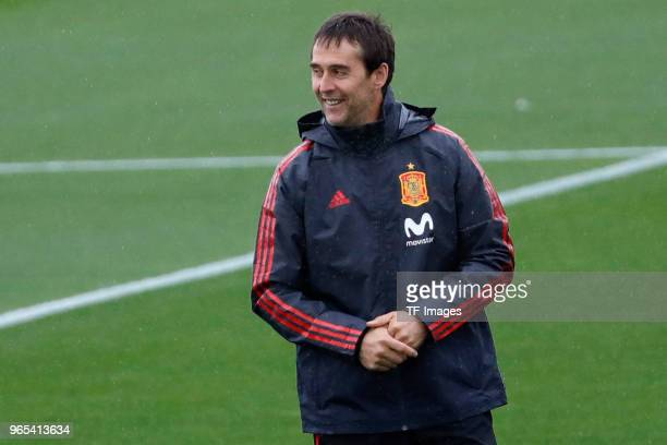 Head coach Julen Lopetegui of Spain laughs during a training session on May 28 2018 in Madrid Spain