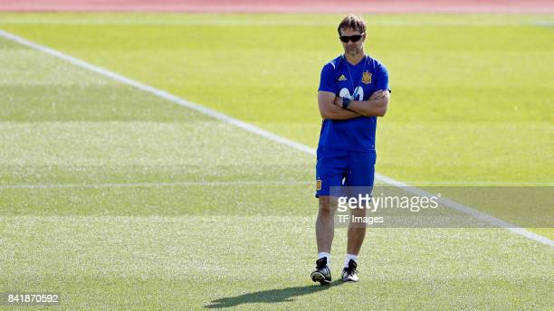Head coach Julen Lopetegui of Spain looks on during a training session on August 31 2017 in Madrid Spain