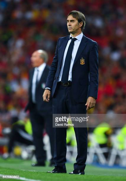 Head Coach Julen Lopetegui of Spain looks on during the FIFA 2018 World Cup Qualifier between Spain and Italy at Estadio Santiago Bernabeu on...