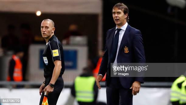 Head coach Julen Lopetegui of Spain looks on during the FIFA 2018 World Cup Qualifier between Liechtenstein and Spain at Rheinpark Stadion on...