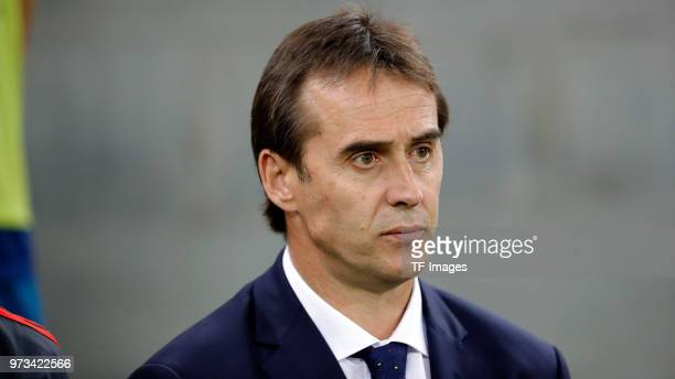 Head coach Julen Lopetegui of Spain looks on prior to the friendly match between Spain and Tunisia at Krasnodar's stadium on June 9 2018 in Krasnodar...