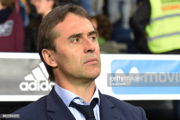 Head coach Julen Lopetegui of Spain looks prior to the international friendly match between Spain and Costa Rica at La Rosaleda Stadium on November...