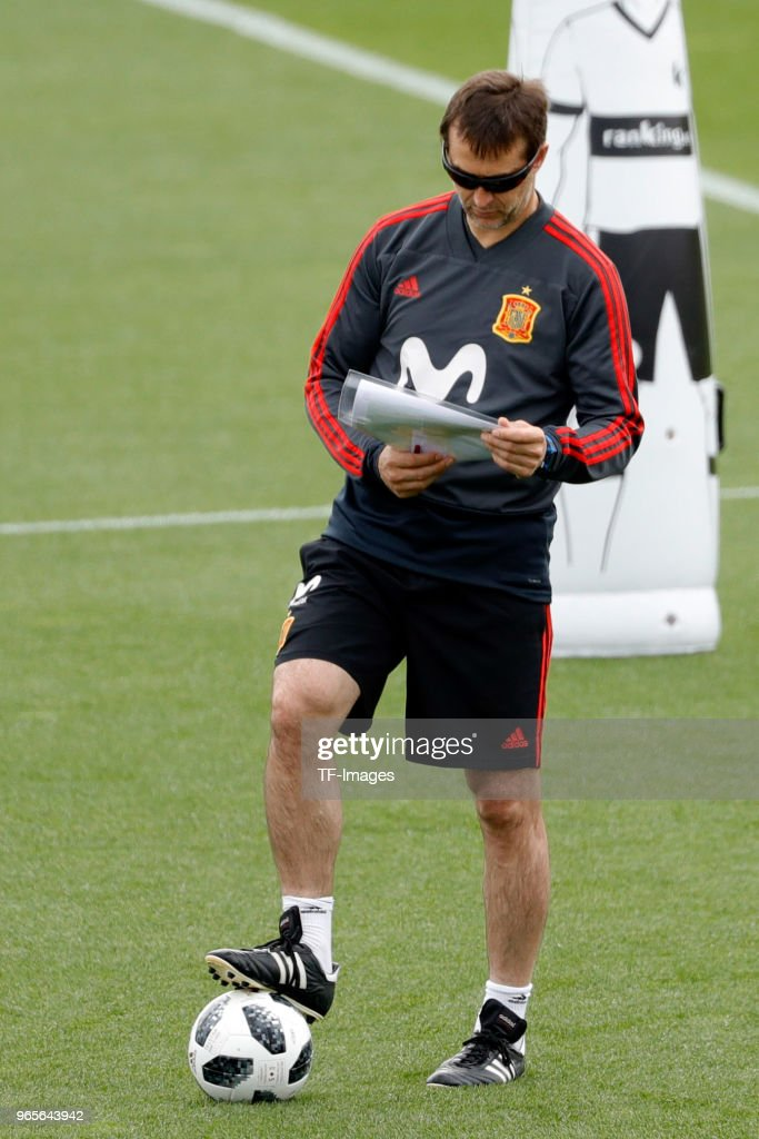 Head coach Julen Lopetehgui of Spain looks on during a training session on May 30, 2018 in Madrid, Spain.
