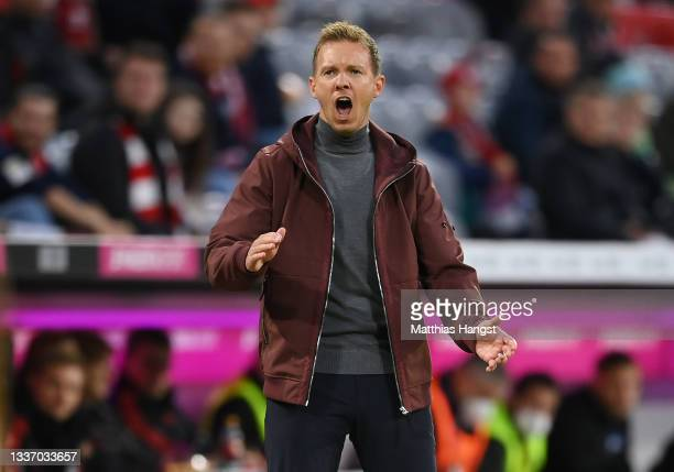 Head coach Julian Nagelsmann of FC Bayern Muenchen reacts during the Bundesliga match between FC Bayern München and Hertha BSC at Allianz Arena on...