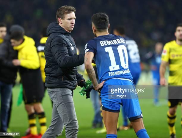 Head coach Julian Nagelsmann of Hoffenheim and Kerem Demirbay of Hoffenheim look dejected after the Bundesliga match between Borussia Dortmund and...