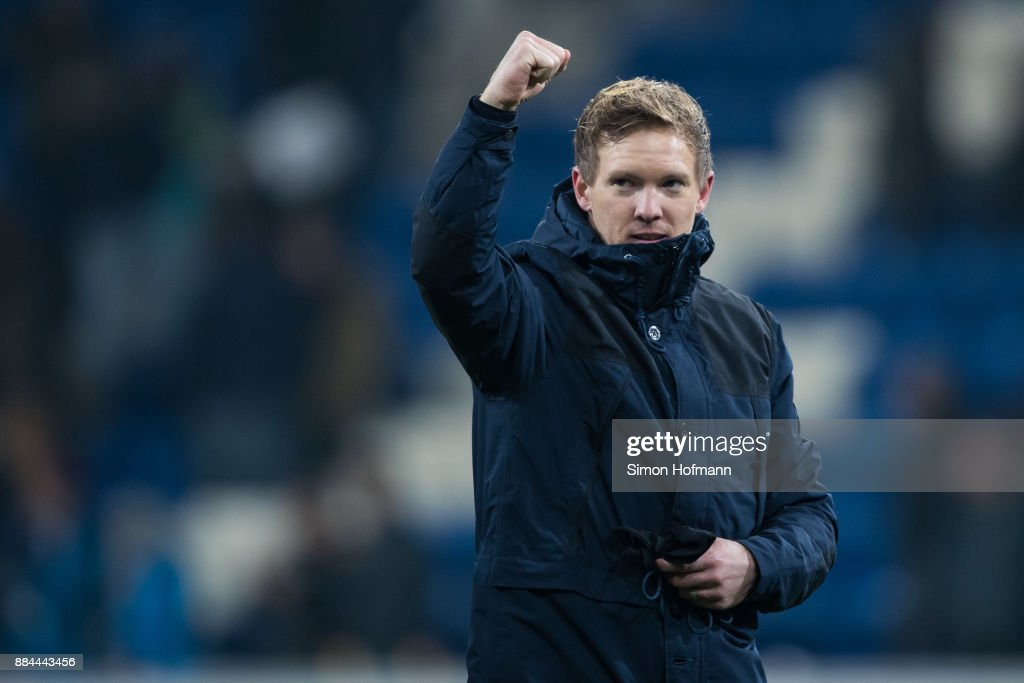 Head coach Julian Nagelsmann of Hoffenheim celebreates winning during the Bundesliga match between TSG 1899 Hoffenheim and RB Leipzig at Wirsol Rhein-Neckar-Arena on December 2, 2017 in Sinsheim, Germany.