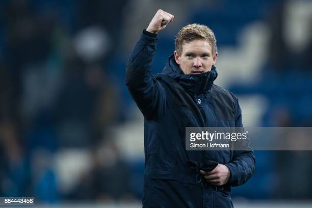 Head coach Julian Nagelsmann of Hoffenheim celebreates winning during the Bundesliga match between TSG 1899 Hoffenheim and RB Leipzig at Wirsol...