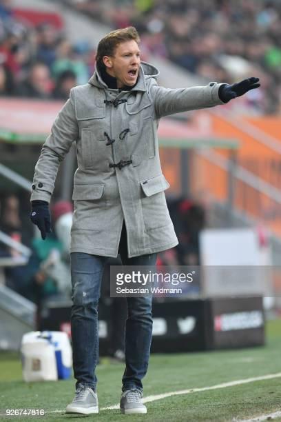 Head coach Julian Nagelsmann of Hoffenheim gestures during the Bundesliga match between FC Augsburg and TSG 1899 Hoffenheim at WWKArena on March 3...