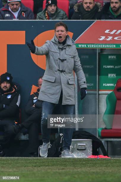 Head coach Julian Nagelsmann of Hoffenheim gestures during the Bundesliga match between FC Augsburg and TSG 1899 Hoffenheim at WWK Arena on March 03...
