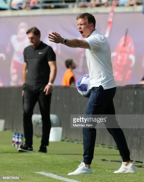 Head coach Julian Nagelsmann of Hoffenheim gestures during the Bundesliga match between RB Leipzig and TSG 1899 Hoffenheim at Red Bull Arena on April...