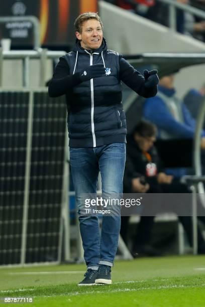 Head coach Julian Nagelsmann of Hoffenheim gestures during the UEFA Europa League group C match between 1899 Hoffenheim and PFC Ludogorets Razgrad at...