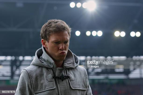 Head coach Julian Nagelsmann of Hoffenheim gestures prior to the Bundesliga match between FC Augsburg and TSG 1899 Hoffenheim at WWK Arena on March...