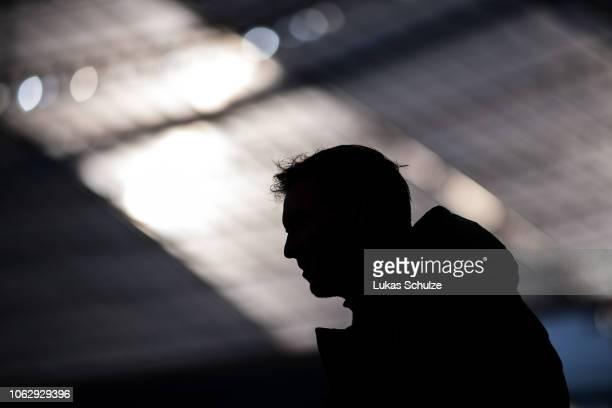 Head Coach Julian Nagelsmann of Hoffenheim is seen as a silhouette prior to the Bundesliga match between Bayer 04 Leverkusen and TSG 1899 Hoffenheim...
