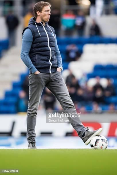 Head coach Julian Nagelsmann of Hoffenheim looks on during the Bundesliga match between TSG 1899 Hoffenheim and Bayer 04 Leverkusen at Wirsol...