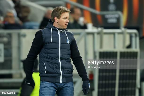 Head coach Julian Nagelsmann of Hoffenheim looks on during the UEFA Europa League group C match between 1899 Hoffenheim and PFC Ludogorets Razgrad at...