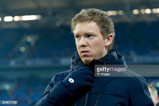 Head coach Julian Nagelsmann of Hoffenheim looks on prior to the Bundesliga match between FC Schalke 04 and TSG 1899 Hoffenheim at VeltinsArena on...
