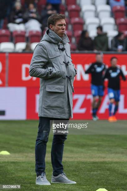 Head coach Julian Nagelsmann of Hoffenheim looks on prior to the Bundesliga match between FC Augsburg and TSG 1899 Hoffenheim at WWK Arena on March...