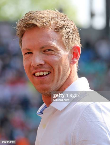 Head coach Julian Nagelsmann of Hoffenheim looks on prior to the Bundesliga match between RB Leipzig and TSG 1899 Hoffenheim at Red Bull Arena on...