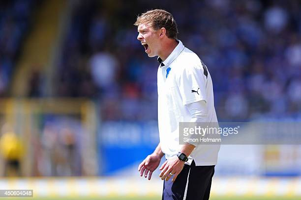 Head coach Julian Nagelsmann of Hoffenheim reacts during the A Juniors Bundesliga Semi Final between 1899 Hoffenheim and FC Schalke 04 at Dietmar...