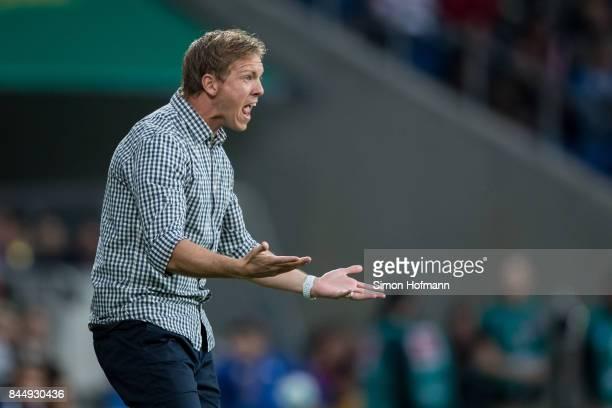 Head coach Julian Nagelsmann of Hoffenheim reacts during the Bundesliga match between TSG 1899 Hoffenheim and FC Bayern Muenchen at Wirsol...