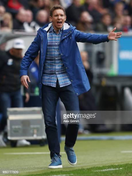 Head coach Julian Nagelsmann of Hoffenheim reacts during the Bundesliga match between TSG 1899 Hoffenheim and VfL Wolfsburg at Wirsol...