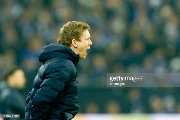 Head coach Julian Nagelsmann of Hoffenheim shouts during the Bundesliga match between FC Schalke 04 and TSG 1899 Hoffenheim at VeltinsArena on...