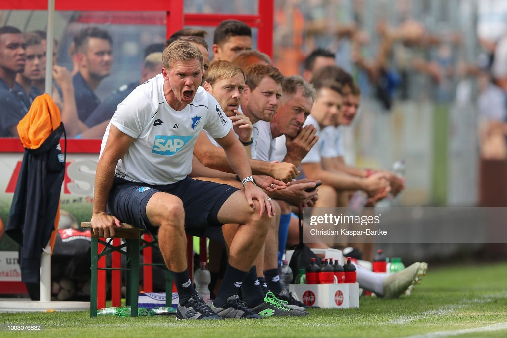 Head coach Julian Nagelsmann of Hoffenheim shouts instructions to his players during the pre-saeson friendly match between Queens Park Rangers and TSG 1899 Hoffenheim on July 21, 2018 in Eppingen, Germany.