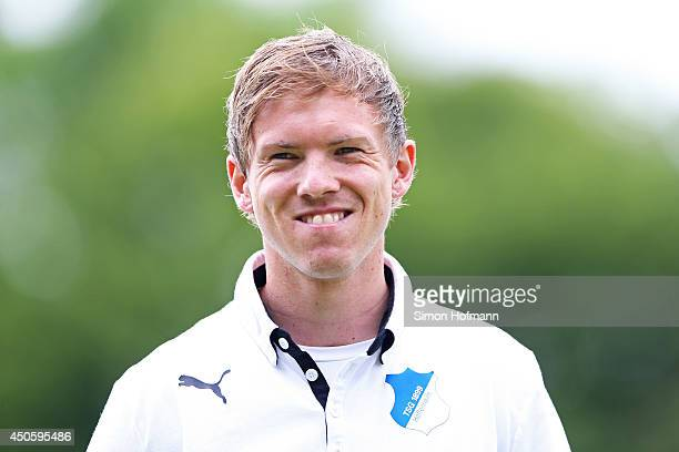 Head coach Julian Nagelsmann of Hoffenheim smiles prior to the A Juniors Bundesliga Semi Final between 1899 Hoffenheim and FC Schalke 04 at Dietmar...